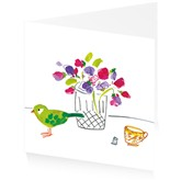 Green bird and flowers